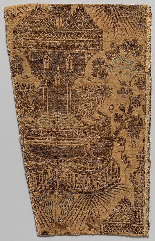 Textile with Architectural Fountain Guarded by Lions Date