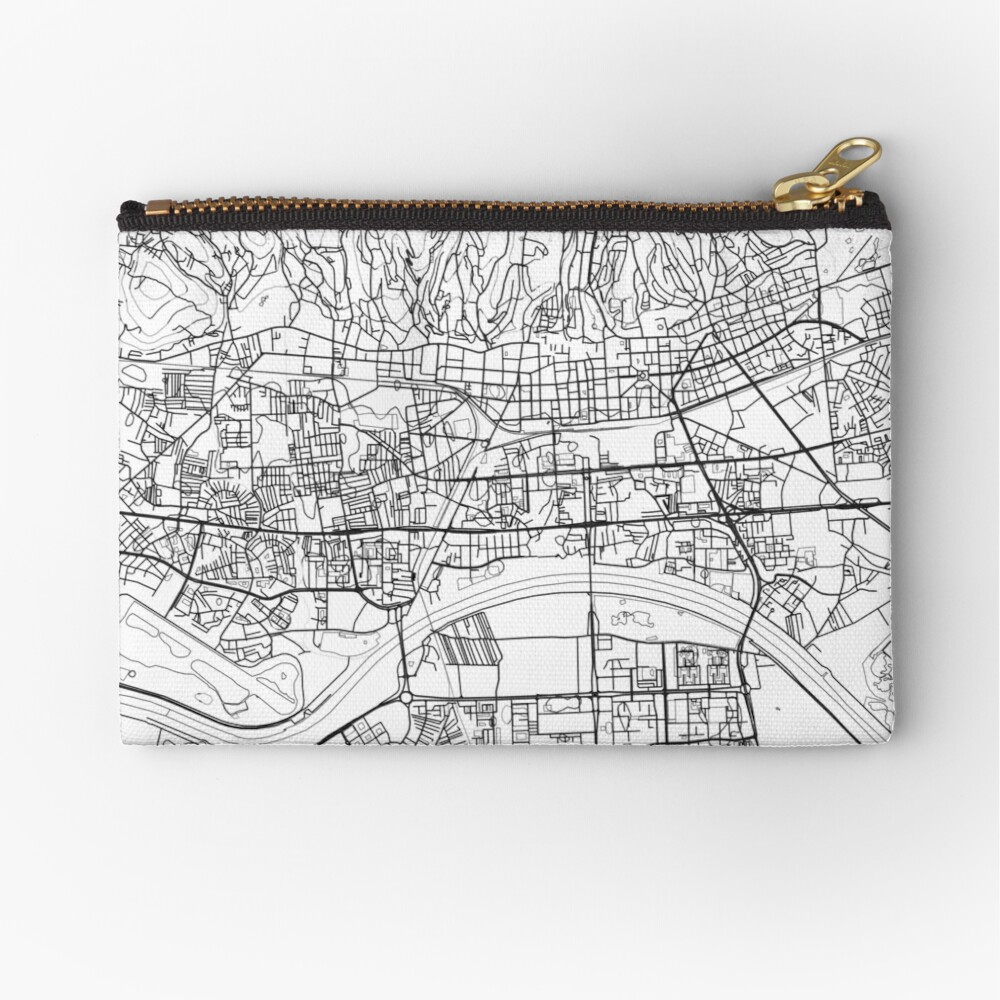 Zagreb Map Poster Print Wall Art Croatia Gift Printable Home And Nursery Modern Map Decor For Office Map Art Map Gifts Zipper Pouch By Marzzgraphics Map Art Map Decor Map Gifts