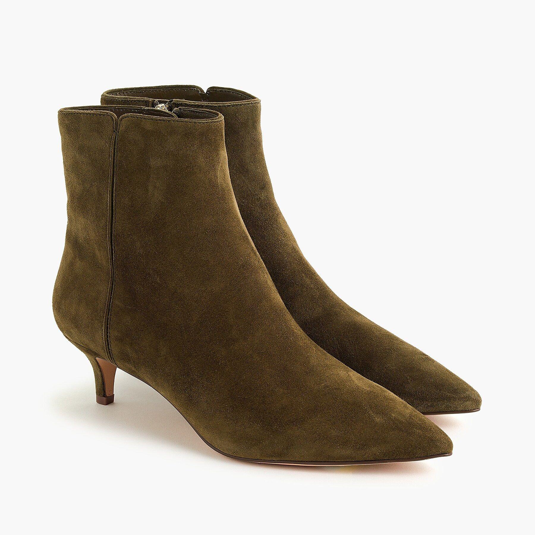 J Crew Fiona Kitten Heel Ankle Boots In Suede In 2020 Kitten Heel Ankle Boots Kitten Heels Outfit Kitten Heel Boots