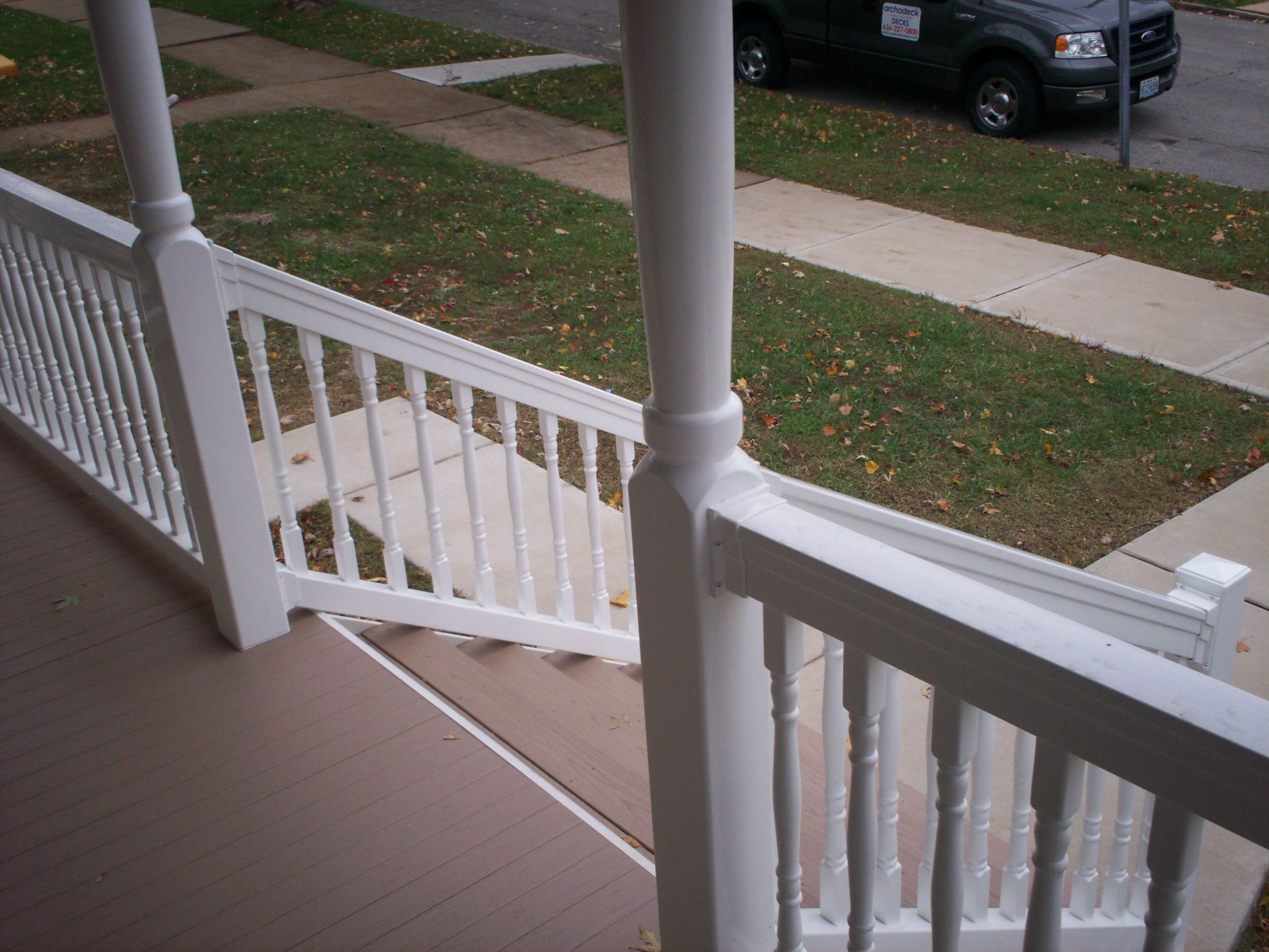 AZEK Front Porch with Stairs Railings and Columns in St Louis Mo