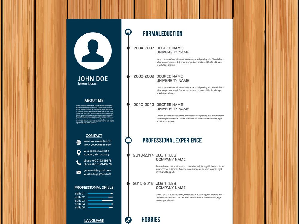Free Vector Cv Template With Timeline Style Design Free Resume