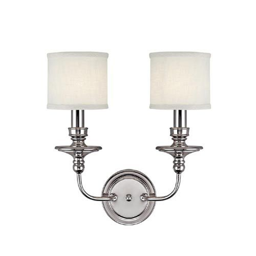 Buy The Capital Lighting Polished Nickel Direct Shop For Midtown 2 Light Tall Wall Sconce With White Fabric Shade And