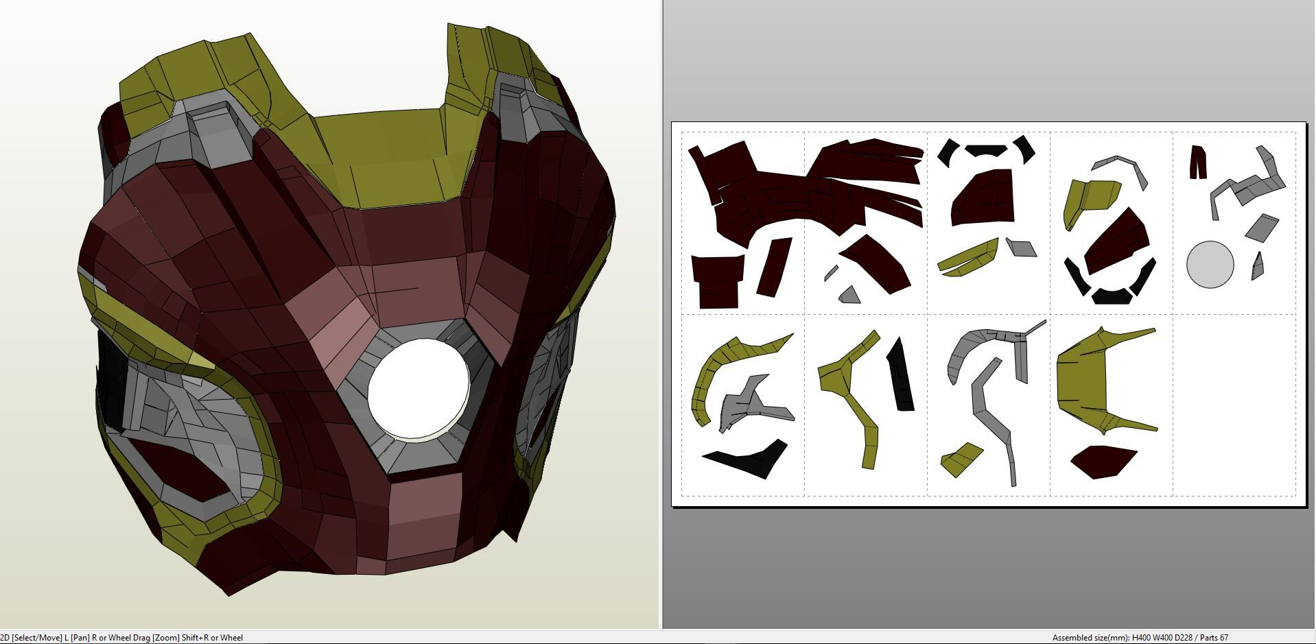 Papercraft .pdo file template for Iron Man - Mark 45 Full Armor + ...