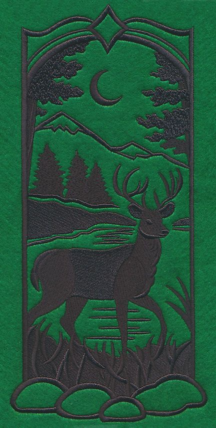 Wild Woods Silhouette - Deer design (M7671) from www.Emblibrary.com