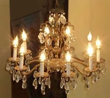 Vintage french provincial brass crystal 10 arm chandelier light w vintage french chandelier aloadofball Gallery
