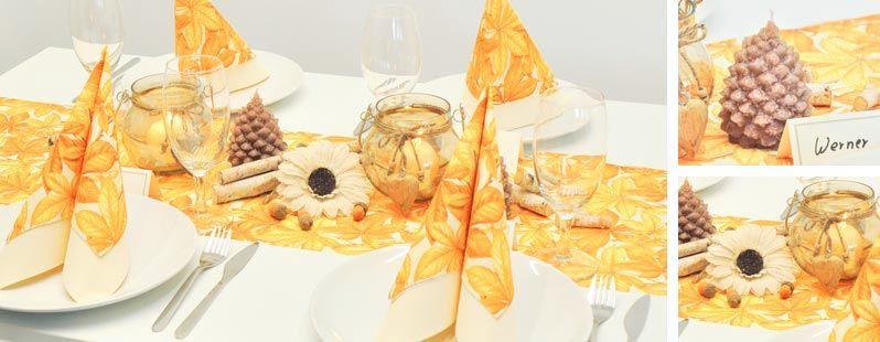 Herbstblatter Orange Braun Tischdeko Herbst Pinterest