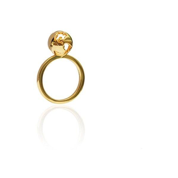Cristina Ramella World Globe Single Ring ($187) ❤ liked on Polyvore featuring jewelry, rings, gold, 24-karat gold jewelry, 24k ring, cutout ring, 24 karat gold ring and cut out jewelry