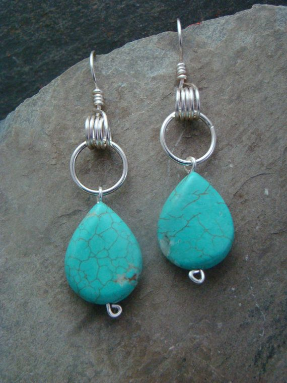 Beautiful Turquoise Drop Earrings Unique Wire Wrapped Earwires 3/4 ...
