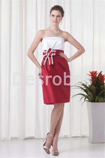 e152393e6e2 Robe de cocktail mi-longue blanc et rouge dos zippé avec nœud papillon Beautiful  Cocktail