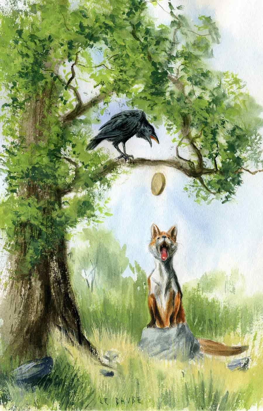 Le corbeau et le renard il ouvre un large bec laisse tomber sa proie les fables de la - Coloriage le corbeau et le renard ...