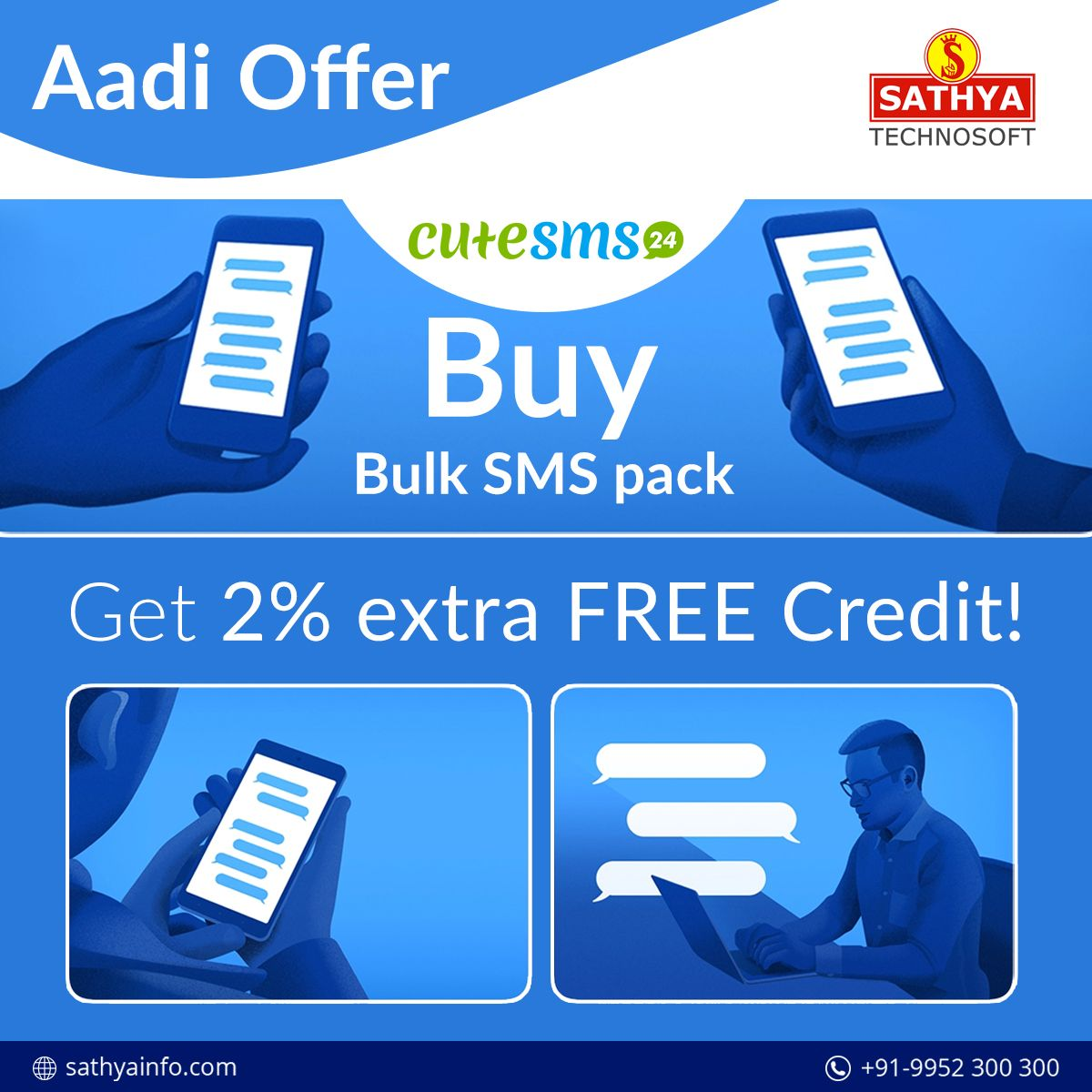 Aadi Offer! Buy our Bulk SMS pack and Get 2 extra FREE