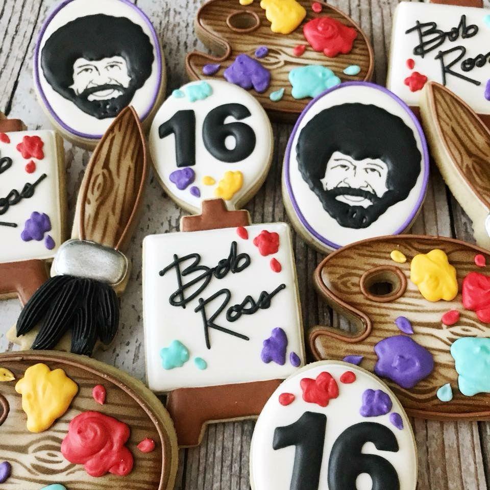 Bob Ross Cookies Bob ross birthday, Fun birthday party