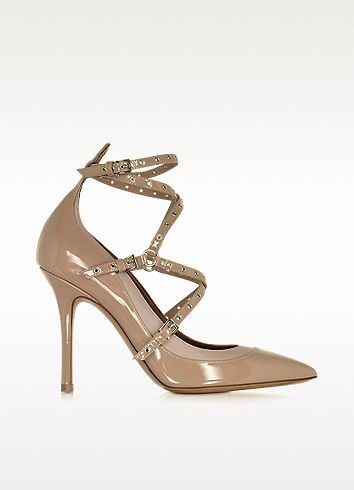 VALENTINO Love Latch Soft Noisette Patent Leather Ankle Strap Pump. #valentino #shoes #pump