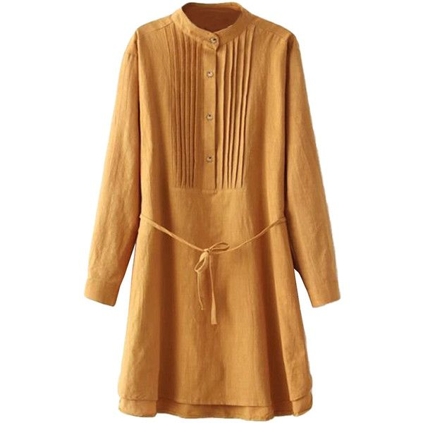 Yellow Simple Womens Pleated Tunic Long Sleeve Plain Shirt Dress (75.400 COP) ❤ liked on Polyvore featuring dresses, yellow, pleated shirt dress, t-shirt dresses, brown long sleeve dress, yellow day dress and brown shirt dress