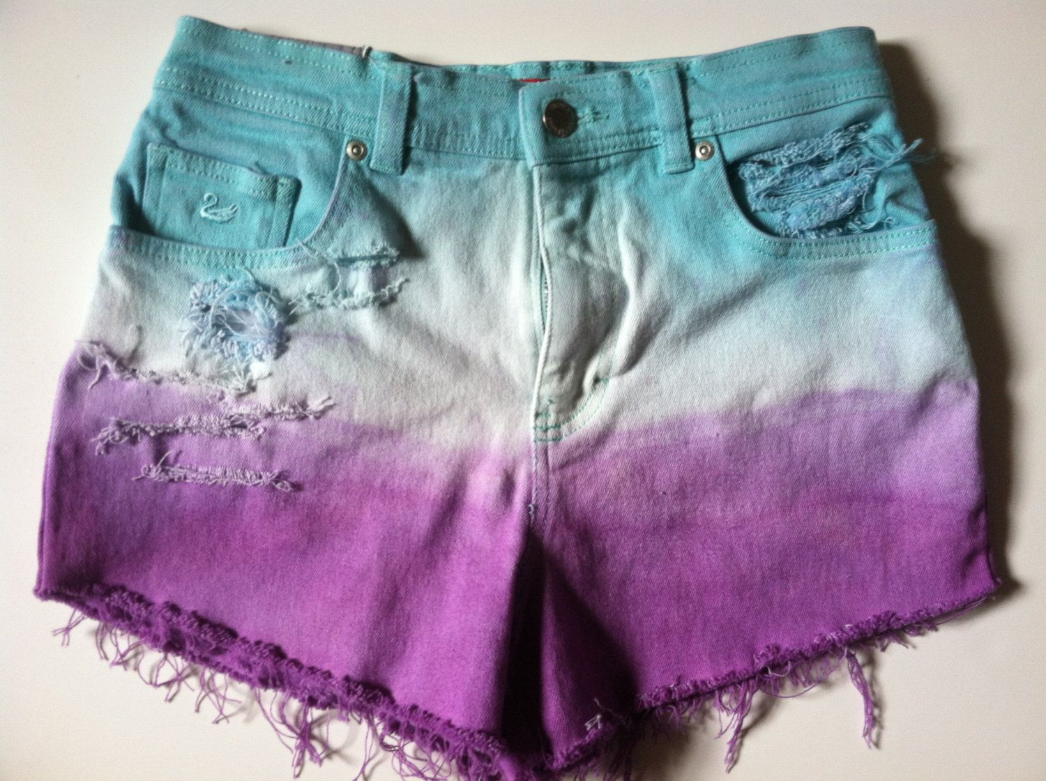 Blue and Purple OMBRE High Waisted Shorts Size 6. $20.00, via Etsy.