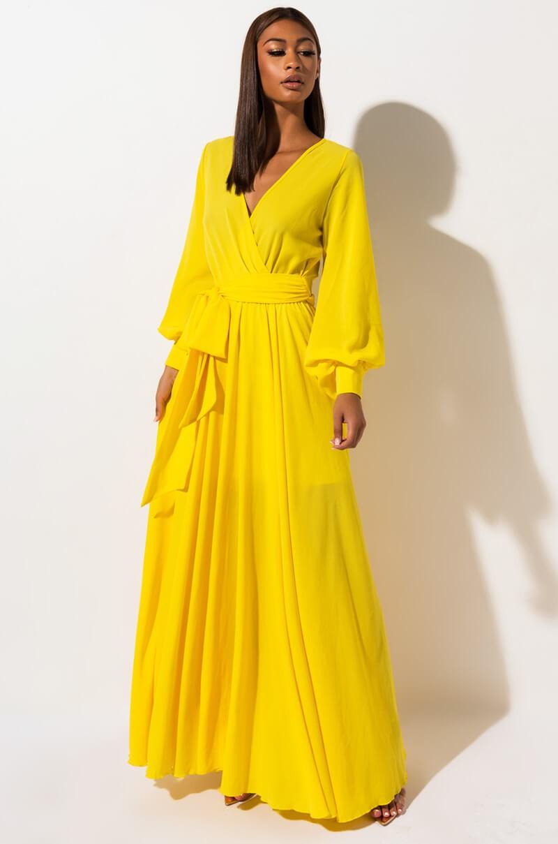 Akira Long Sleeve Chiffon Maxi Dress In Orange Neon Pink Red Yellow Yellow Maxi Dress Outfit Long Sleeve Chiffon Maxi Dress Yellow Maxi Dress [ 1209 x 800 Pixel ]