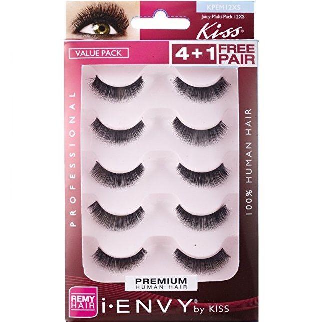 Kiss I Envy Premium Human Remy Hair Eyelashes 4 1 Free Pairs Pack