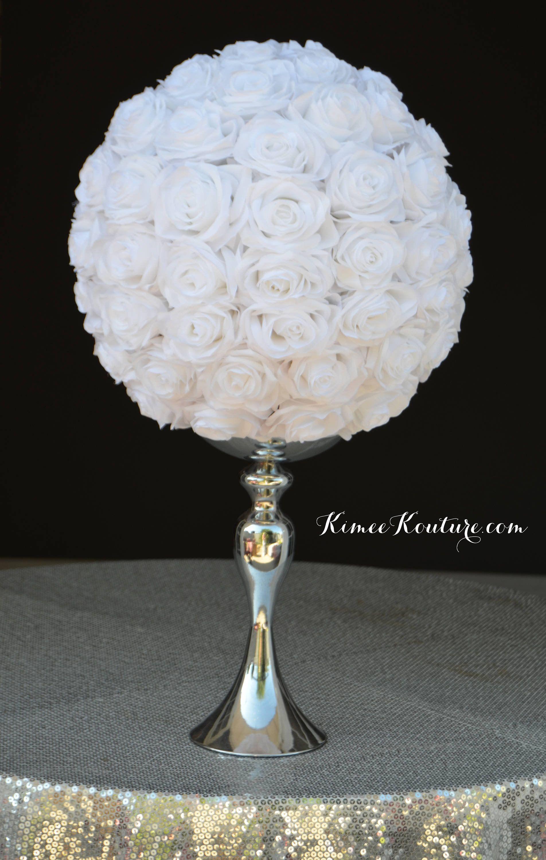 White Rose Ball White Flower Ball White Wedding White Pomander Bridal Shower Wedding Centerpiece Pick Color Flower Ball White Wedding Centerpieces Wedding Centerpieces