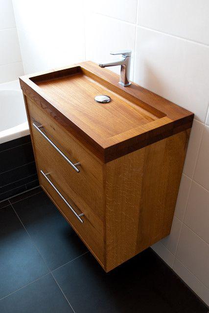 Wooden sink by looof bathroom pinterest ba os for Gabinete de almacenamiento de bano de madera
