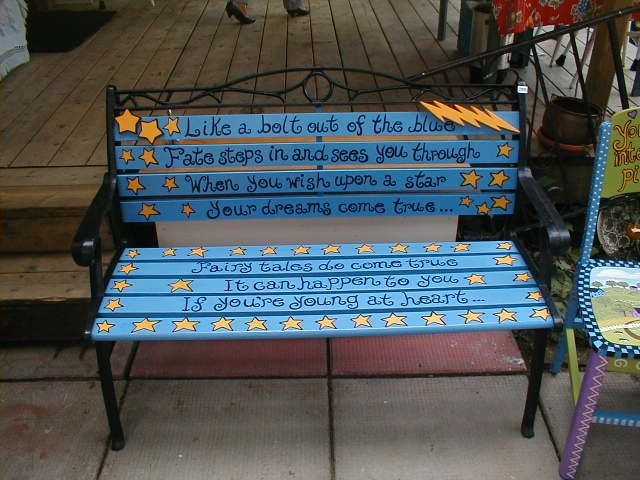 Bench Painting Ideas Part - 22: Fairy Tales Do Come True It Can Happen To You, If Youu0027re Young At Heart.  When You Wish Upon A Star Garden Painted Bench