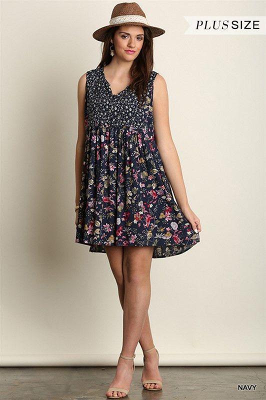 Summer Daze Sleeveless Shift Dress Plus Size Navy Floral