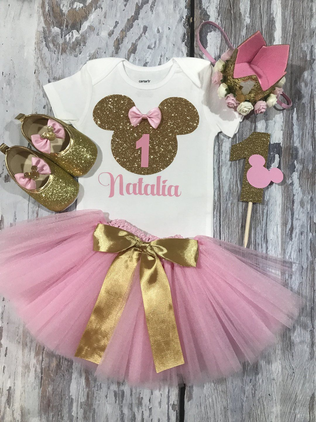 Girls Personalised 1st First Birthday Outfit Tutu Skirt Cake Smash Minnie Pink