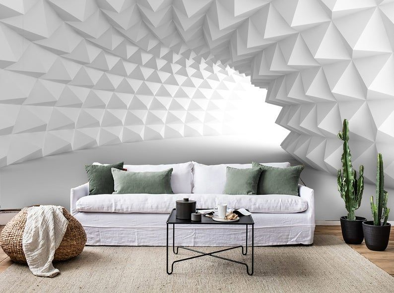 3d Pure White Abstract Space Wallpaper Removable Self Etsy 3d Wallpaper Living Room Living Room Wall Units Wall Decor Design