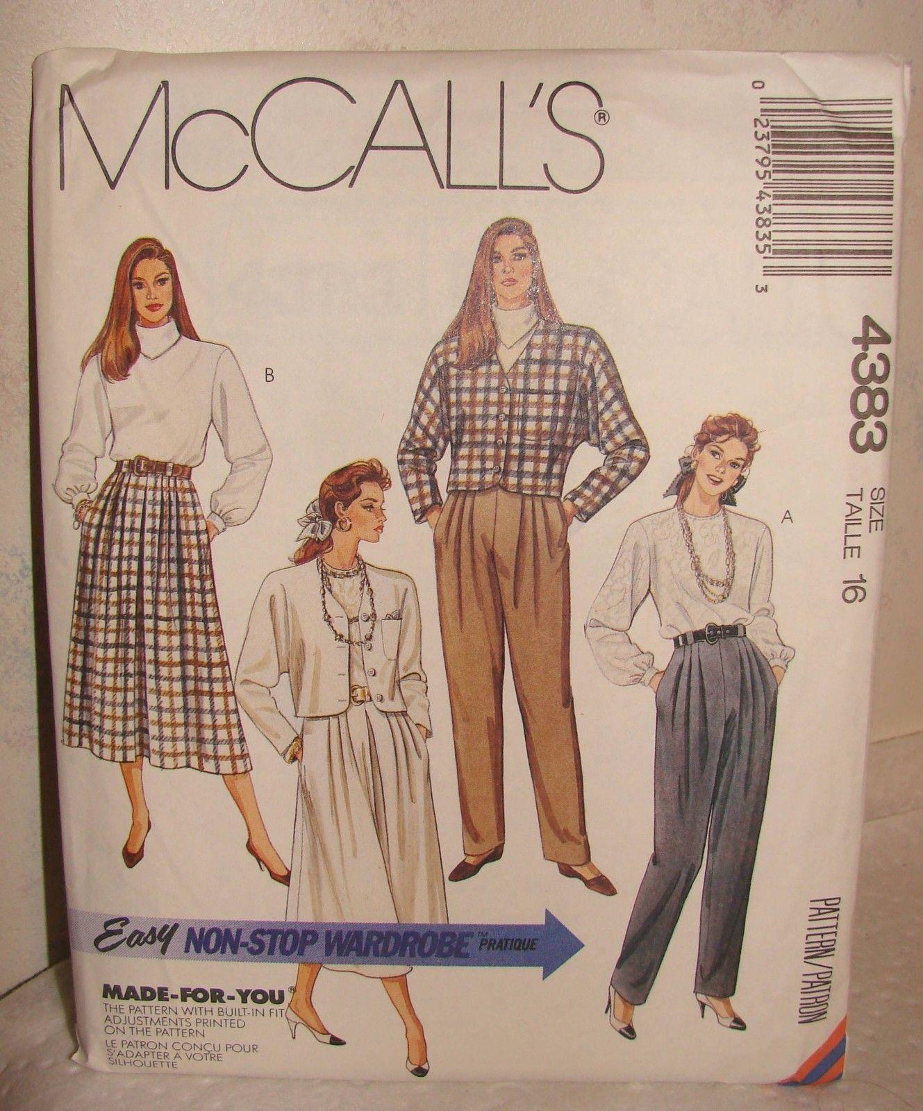 Mccall'S 4383 Easy Skirt Jacket Pattern SZ 16 Uncut   eBay