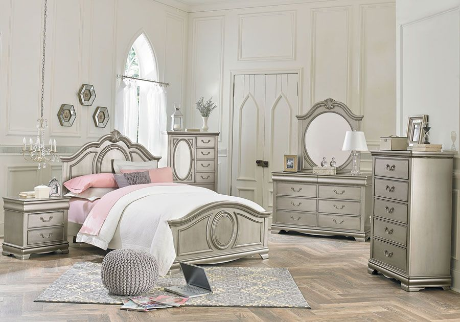 Grace Silver 5 PC Twin Bedroom | Kids Beds | Silver bedroom, Twin ...