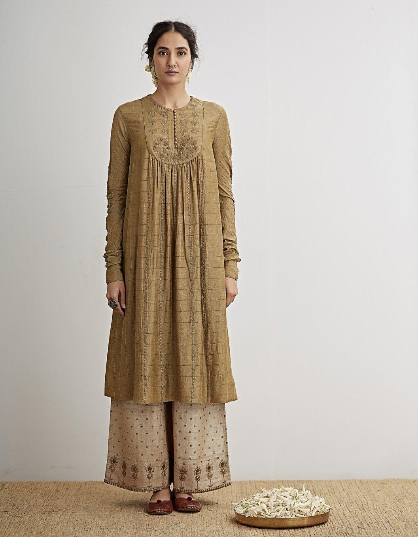 buy pale olive embroidered kurta setdhruv singh