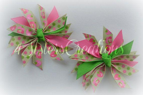 Mini Spikey Bow Set Custom Print Strawberry Shortcake Lime Juice, Apple Green and Hot Pink