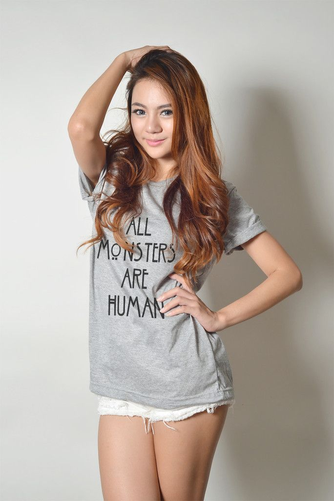 All Monsters Are Human Hipster Tumblr Cute Teen Girl Fashion Women Graphic Printed Tee