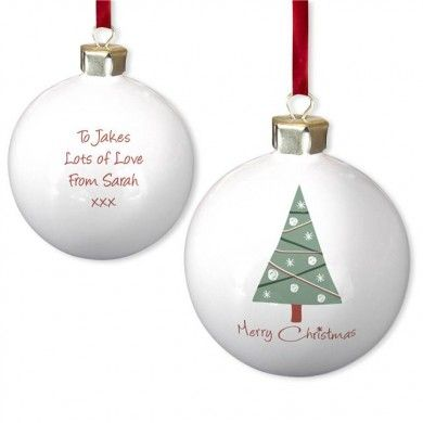#personalised merry #christmas tree bone china #bauble