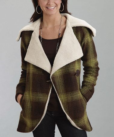 Look what I found on #zulily! Brown Plaid Sherpa Wool Coat - Women #zulilyfinds