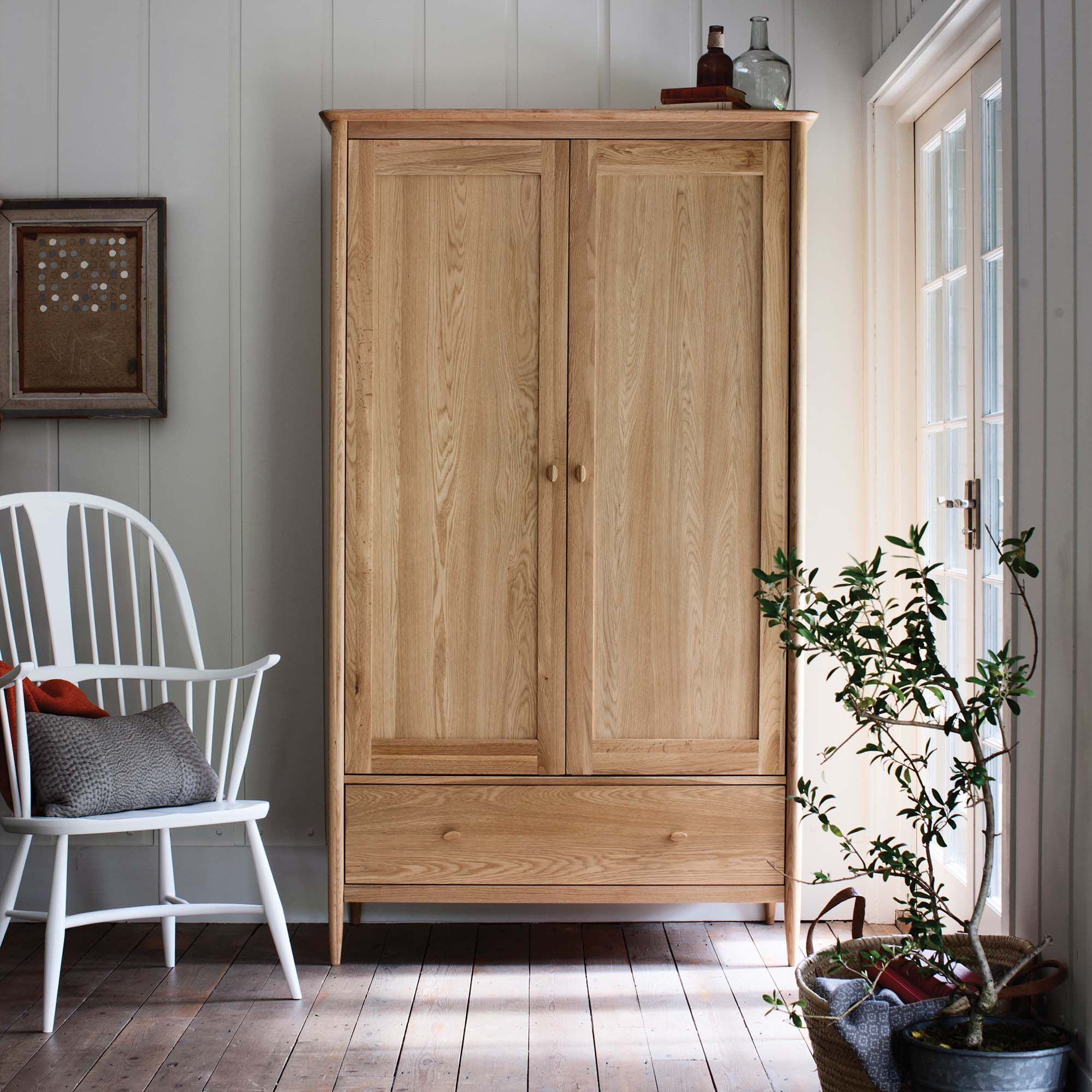 Ercol teramo door wardrobe oak wardrobes bedroom in