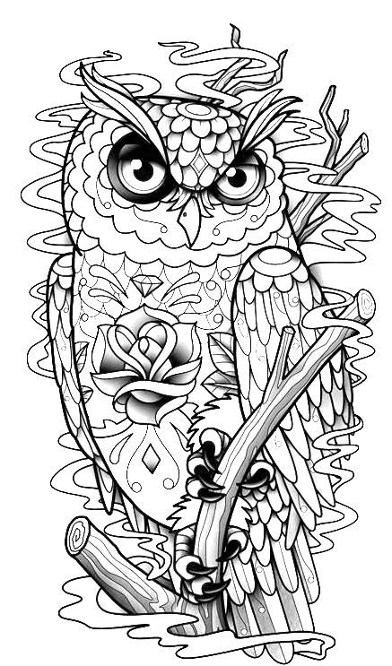 tattoo owl coloring pages - photo#17