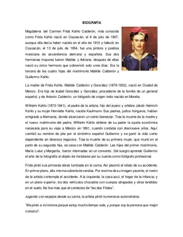 Resultado De Imagen Para Biografia De Frida Kahlo Biografia De Frida Kahlo Historia De Frida Kahlo Historia De Frida