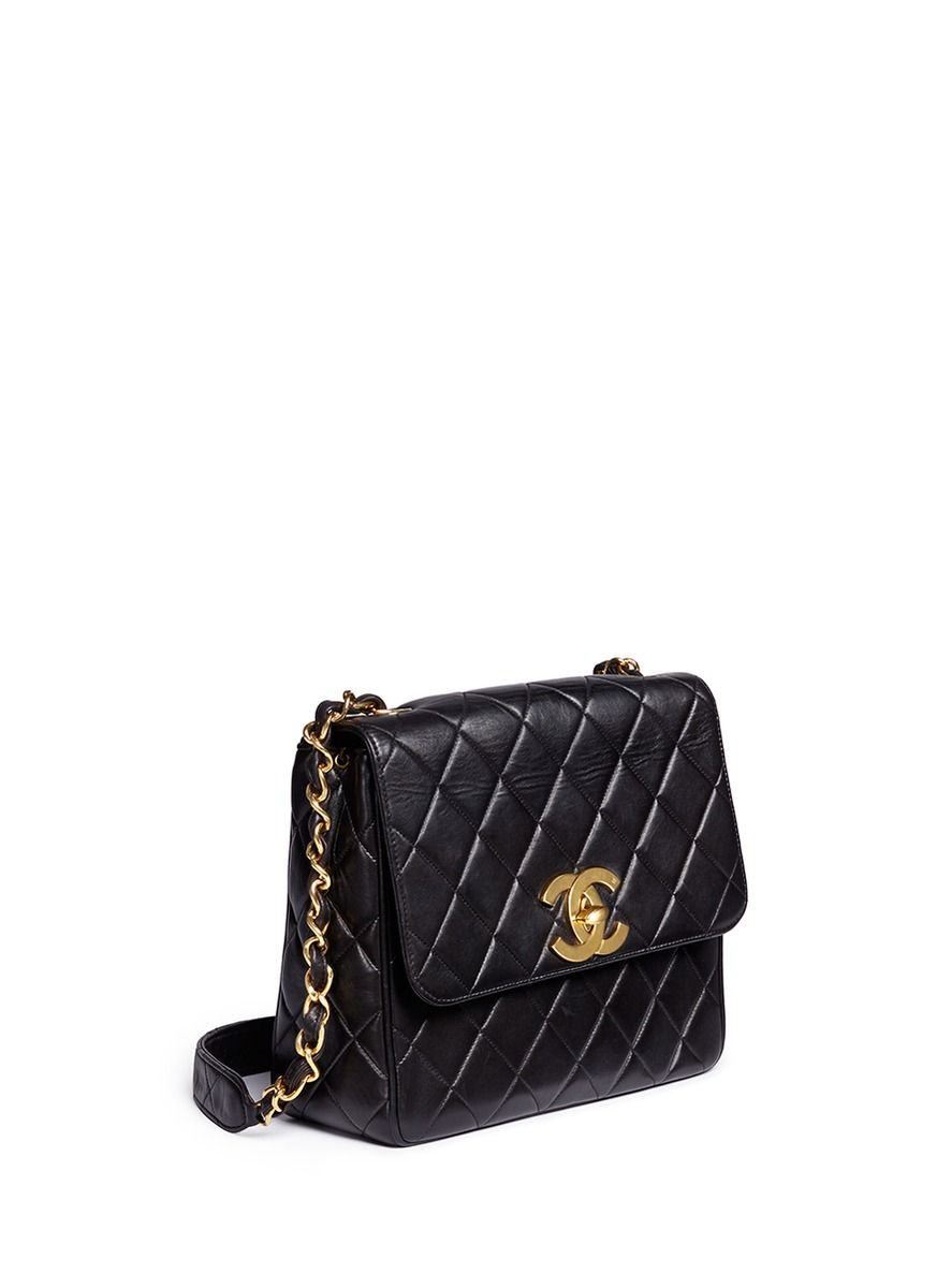 1fe5a2ce4 Vintage Chanel | Square quilted lambskin leather big CC flap bag ...