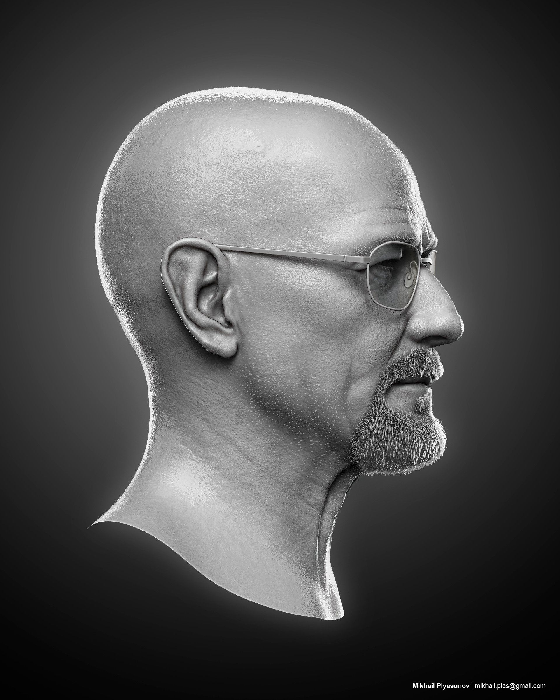 ArtStation - Walter White aka Heisenberg (Bryan Cranston) likeness sculpt., Mikhail Plyasunov