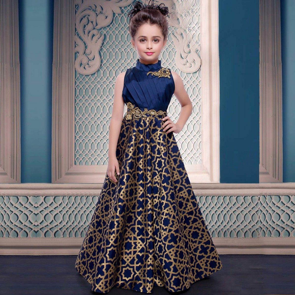 Buy navy blue embroidered work jacquard gown for kids for Kids dress fabric