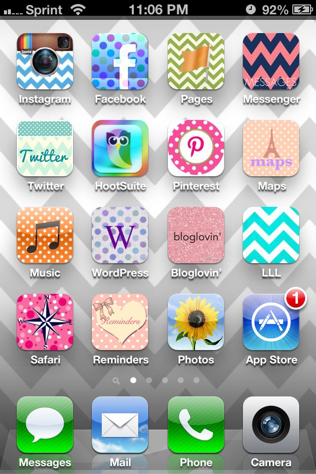 New iPhone icons using the app CocoPPa. Love it! Ipad