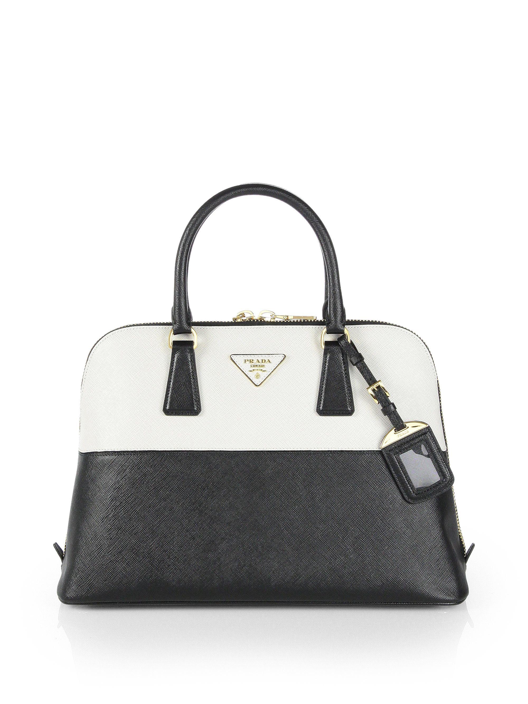 21f89af63732 Prada Saffiano Bicolor Promenade Bag in Black (nero-black) | Lyst ...