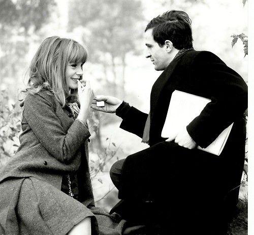 """Françoise Dorléac and François Truffaut on the set of """"La Peau Douce"""" 1964 Raymond Cauchetier"""