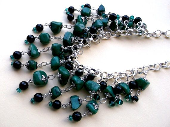 Green Fringe necklace Stone jade necklace by Jewelry2Heart on Etsy
