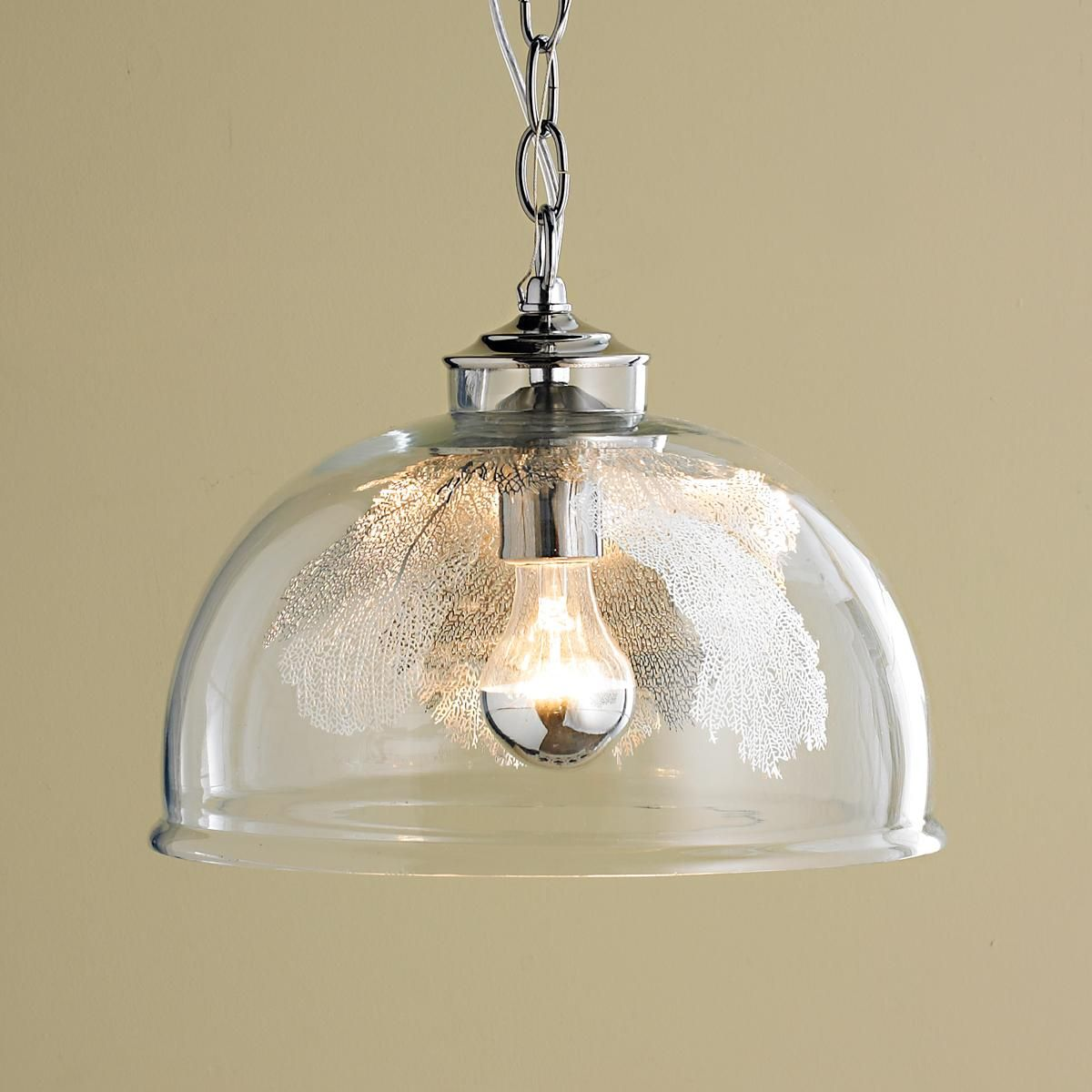 Sea Fan Glass Pendant A Clear Glass Globe Encloses A Decorative Metal See Fan To Create This Modern Coastal Glass Pendant Shades Light Glass Lighting