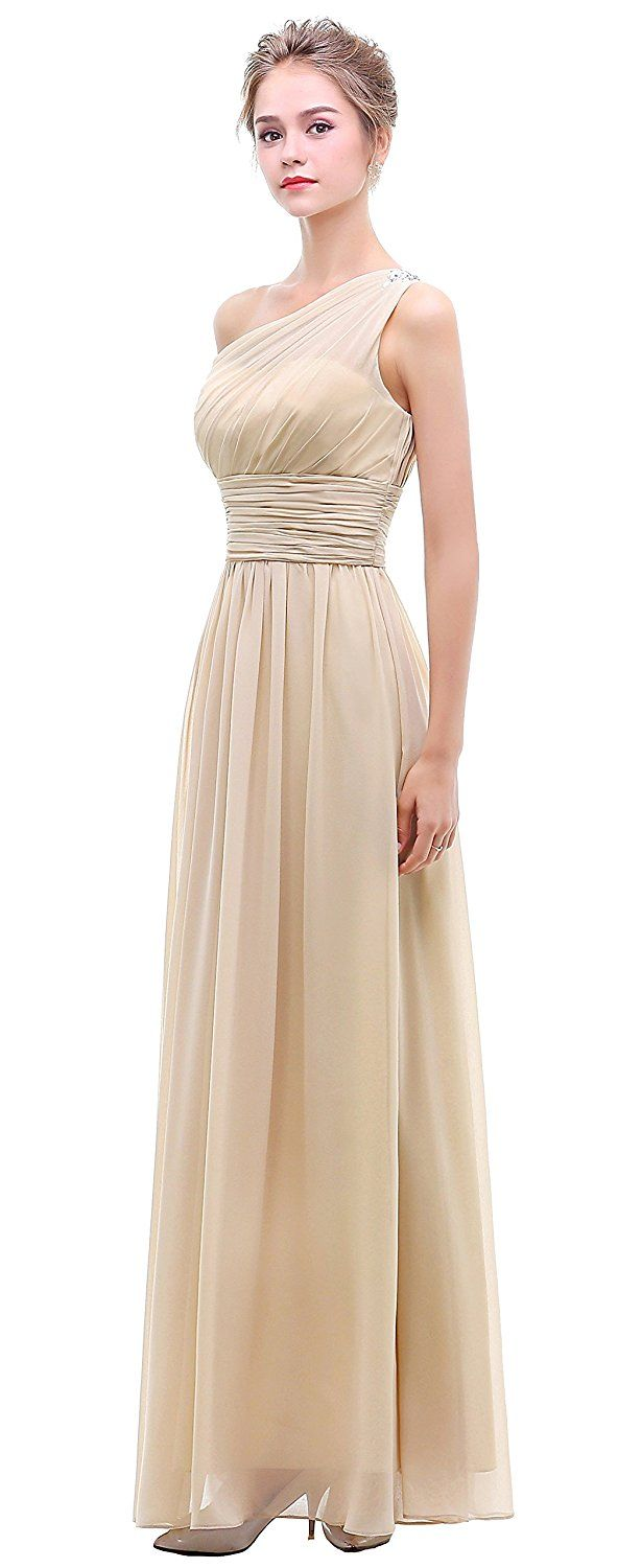 Amazon esvor one shoulder with beaded prom party evening gown