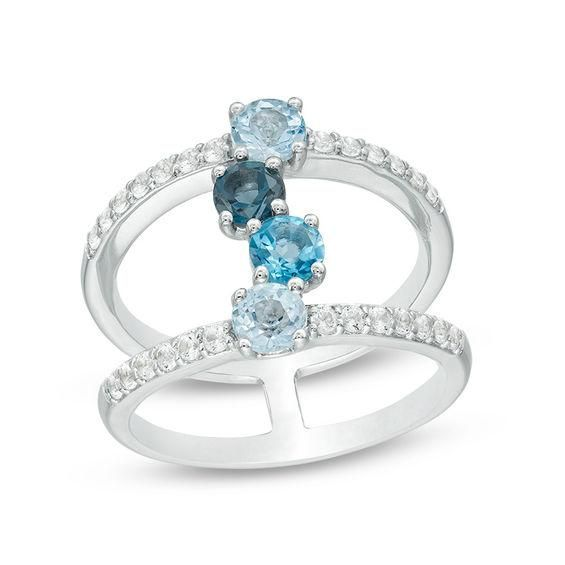 Zales London and Sky Blue Topaz and Lab-Created White Sapphire Infinity Ribbon Ring in Sterling Silver l4pjRsJi4