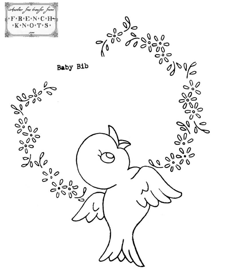 Free Hand Embroidery Transfers | Cute Vintage Chicks Embroidery Transfer Patterns