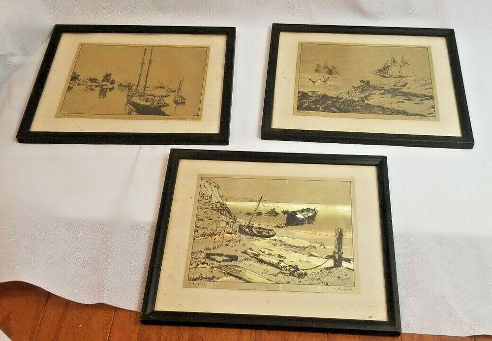 3 set gold foil etch prints framed nautical ocean boat