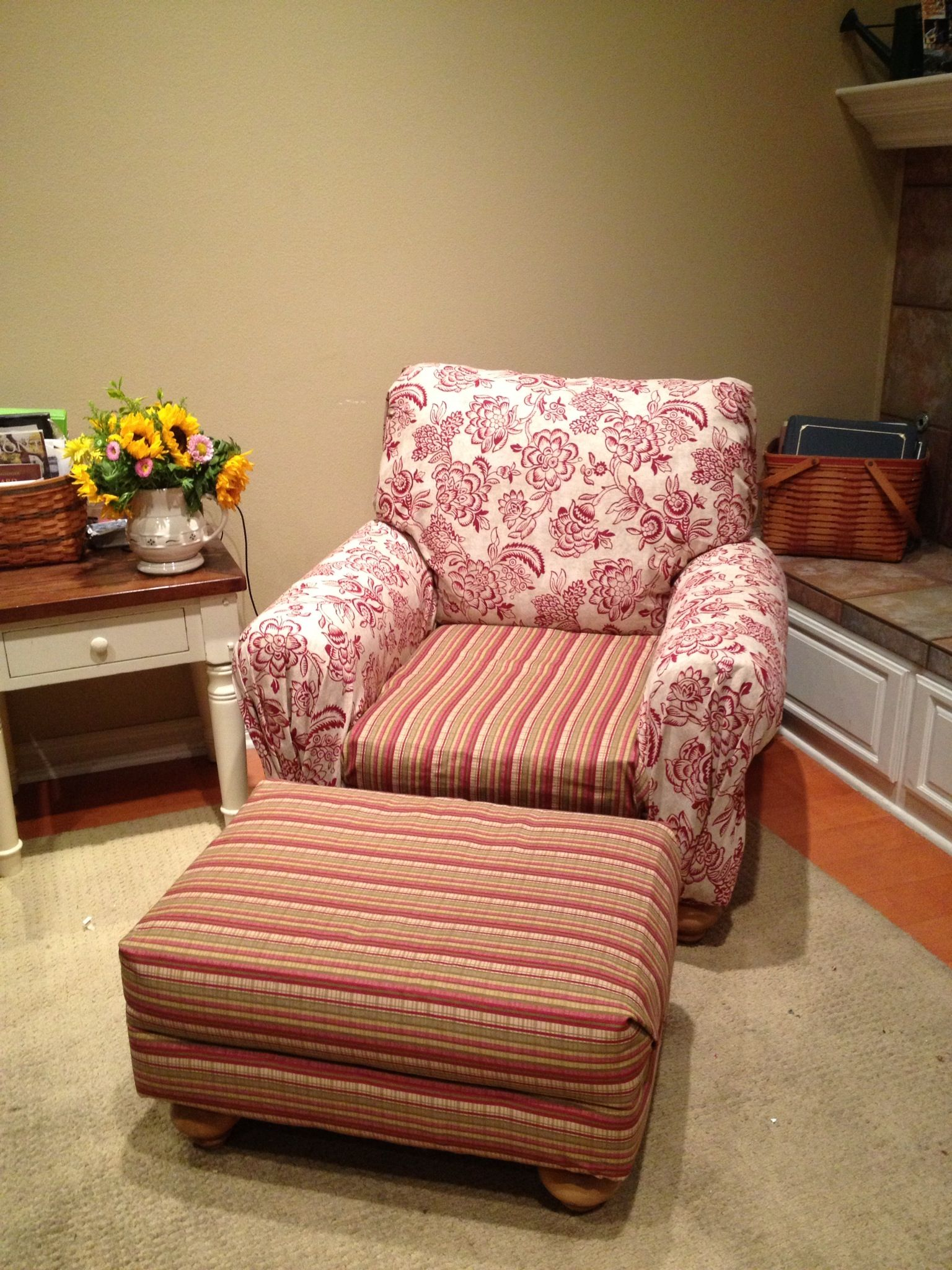 How To Reupholster A Sofa No Sew Klaussner Reclining Leather Reupholstered Chair And Ottoman Mixed Patterns I